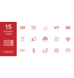 15 poster icons vector
