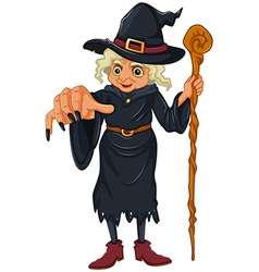 A witch holding a wooden stick vector image