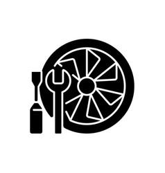 Aircraft maintenance black glyph icon vector