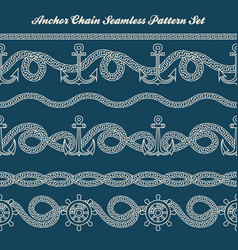 Anchor chain seamless pattern set vector