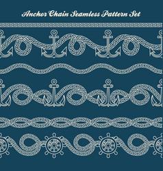 Anchor chain seamless pattern set vector