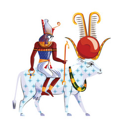 Ancient egypt legend about god ra and goddess nut vector