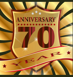 anniversary 70 th label with ribbon vector image