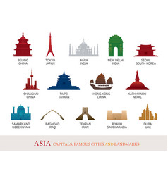 asia cities landmarks colorful silhouette vector image