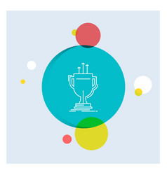 award competitive cup edge prize white line icon vector image
