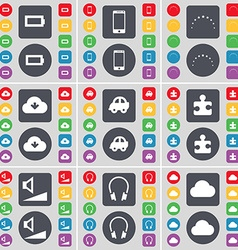 Battery Smartphone Stars Cloud Car Puzzle part vector