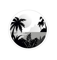 Beautiful tropical scenery with trees water and vector