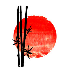 black silhouette bamboo plants on big red sun vector image