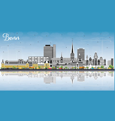 bonn germany city skyline with color buildings vector image