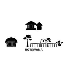 Botswana flat travel skyline set botswana black vector