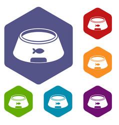 Bowl for animal icons set hexagon vector