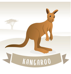 brown cute kangaroo vector image