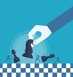 Business man and chess board vector image