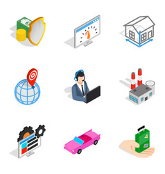 Business unit icons set isometric style vector