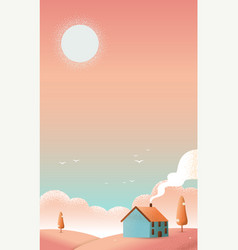 cabin hut on the hills texture vector image