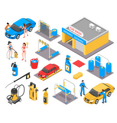 car wash isometric set vector image