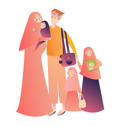 Cartoon arab family characters happy muslim vector