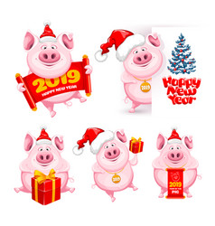 Cartoon pigs set vector