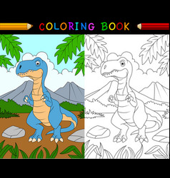 cartoon tyrannosaurus coloring book vector image