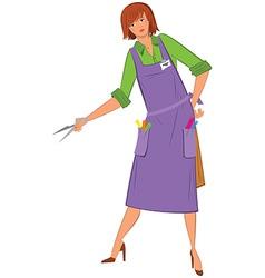 Cartoon woman hairdresser with scissors vector