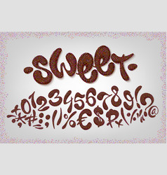 chocolate hand drawn signs and numbers of sweet vector image