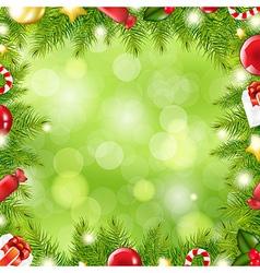 Christmas tree border with blur vector