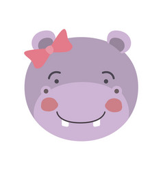 Colorful caricature cute face of female hippo vector