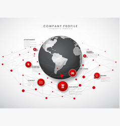 company profile overview template with red vector image
