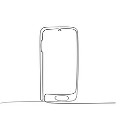 continuous one line drawing smartphone mobile vector image
