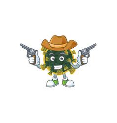 cool cowboy cartoon new coronavirus holding guns vector image