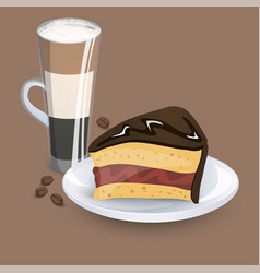 cup with coffee drink sweets and beans vector image
