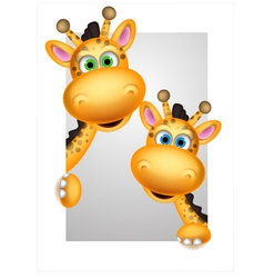 cute couple giraffe cartoon vector image