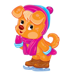 cute ginger puppy character in a hat and scarf is vector image