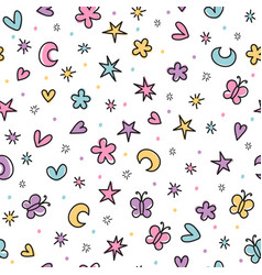 Cute seamless pattern with hand drawn cartoon vector