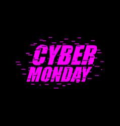 cyber monday glitch effect emblem website display vector image