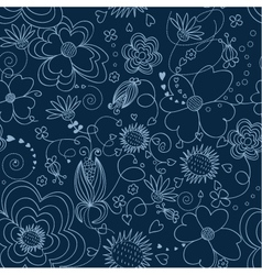 dark blue floral seamless pattern vector image