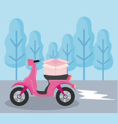 Delivery service motorcycle with box in landcape vector