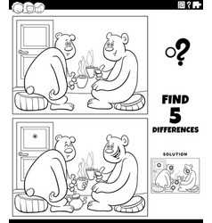 differences educational game with bears drinking vector image