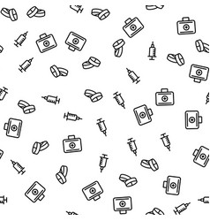 doctor with medical suitcase seamless pattern vector image