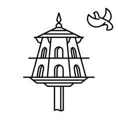 dovecote outline icon house for birds pigeons vector image