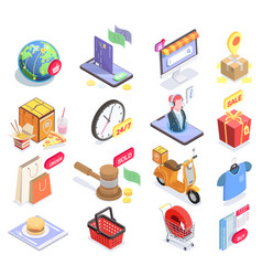 electronic shopping icons collection vector image