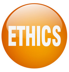 Ethics orange round gel isolated push button vector