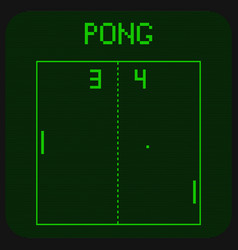first ever computer game pong interface vector image