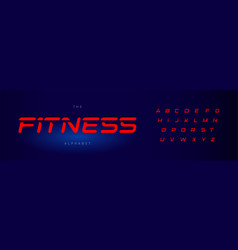 fitness letters set red modern cut style alphabet vector image