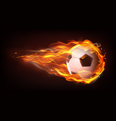 football ball flying in flames realistic vector image