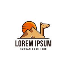fun playful camel and desert logo icon vector image