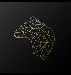 golden polygonal bear vector image