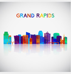 grand rapids skyline silhouette in colorful vector image