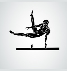 Gymnastics with man at pommel horse clipart vector