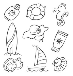 hand draw of summer object doodles vector image